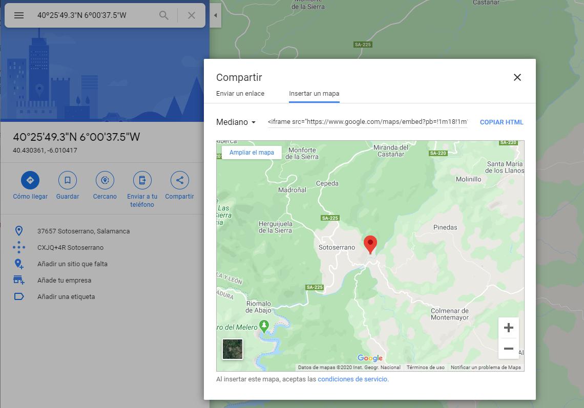 Cómo obtener mapa de Google Maps. Mantenimiento Web