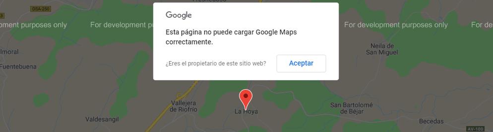 Esta página no puede cargar Google Maps correctamente